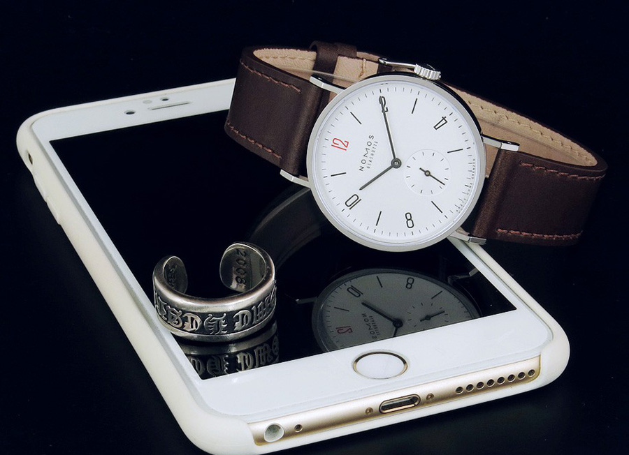 NOMOS Tangente White Dial Brown Leather Strap 3