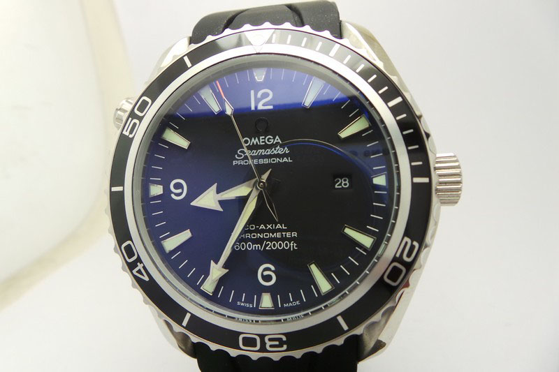 Replica Omega Planet Ocean 45mm Black Rubber Strap Watch