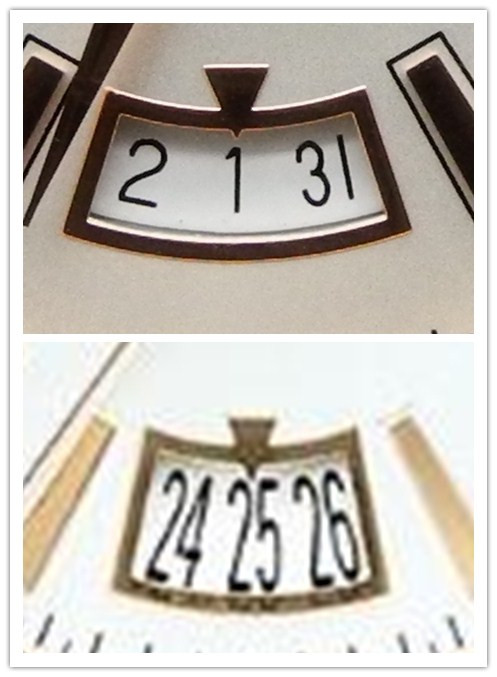 Replica Date Font vs Genuine
