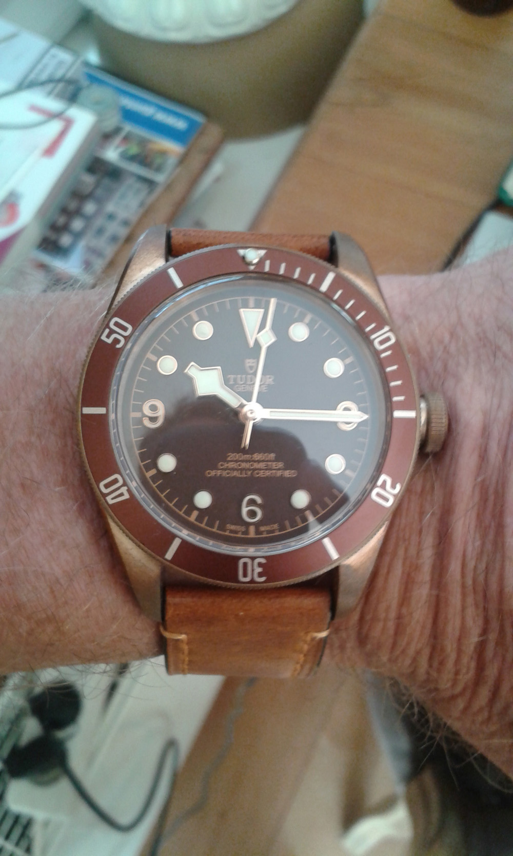 Tudor watch on wrist