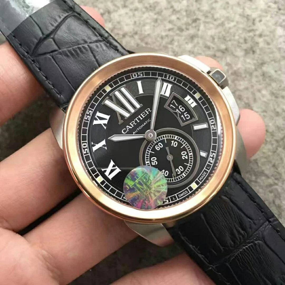 Replica Cartier Calibre Rose Gold Bezel