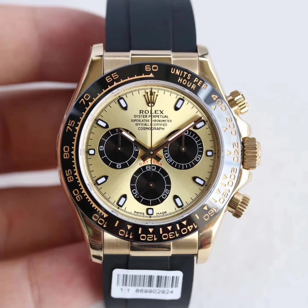 Rolex Daytona Yellow Gold Rubber Replica