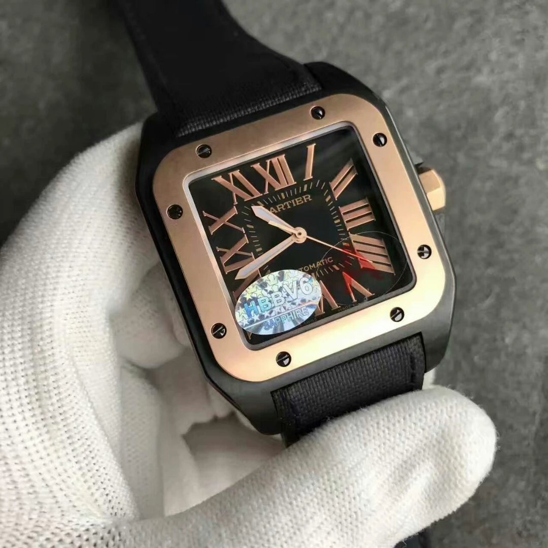 Cartier Santos 100 Rose Gold Bezel