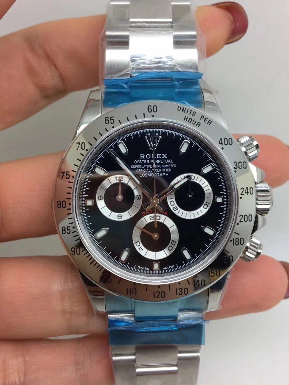Noob Replica Rolex Daytona 116520 SS Black_1