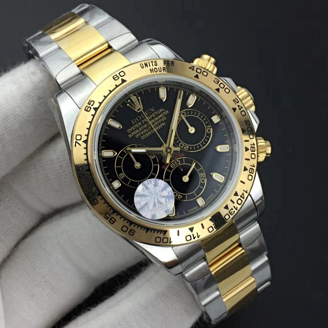 Replica Rolex Daytona Two Tone Black Dial 1