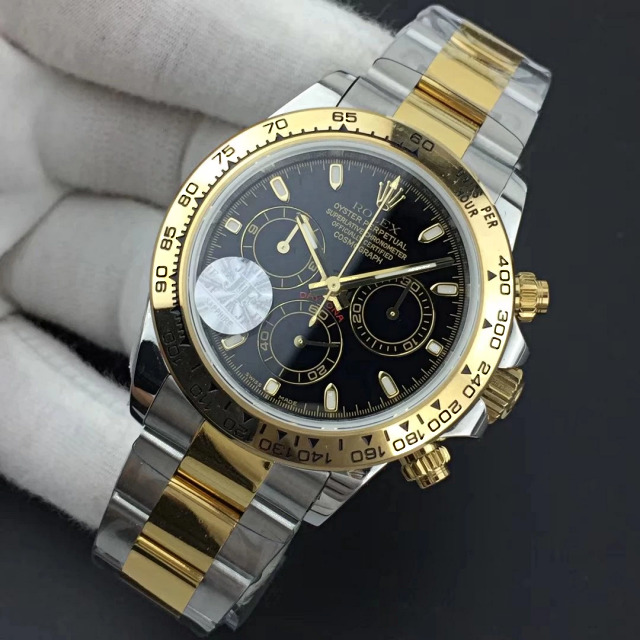Replica Rolex Daytona Two Tone Black Dial 2