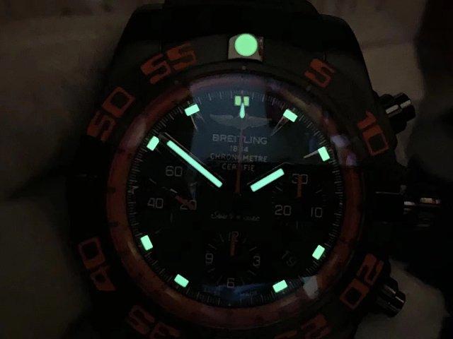 Breitling Chronomat B01 Raven Dial Lume