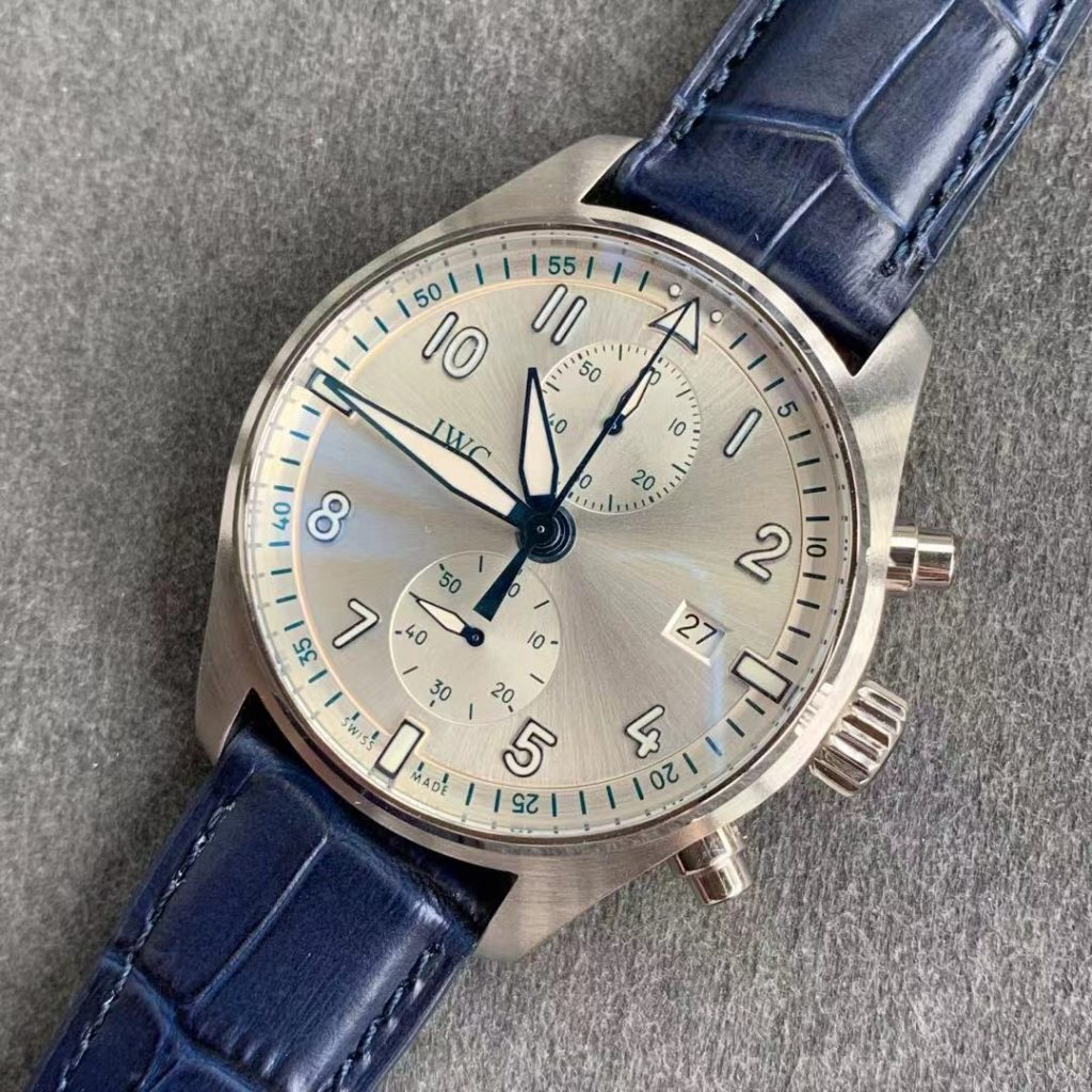 ZF IWC Portuguese Chrono Blue Leather