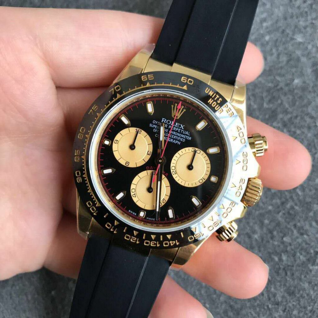 Noob Replica Rolex Daytona Yellow Gold Black