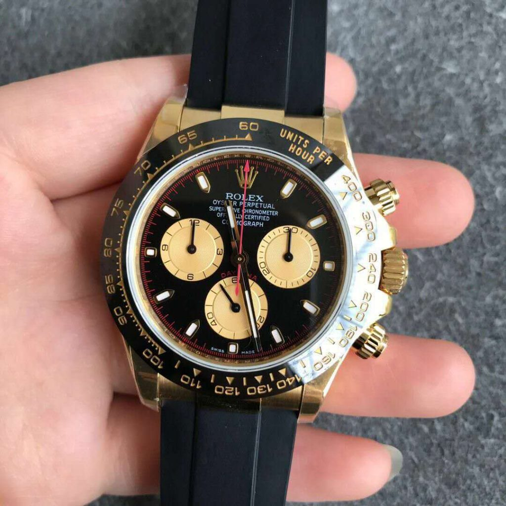 Replica Rolex Daytona Yellow Gold Black Rubber
