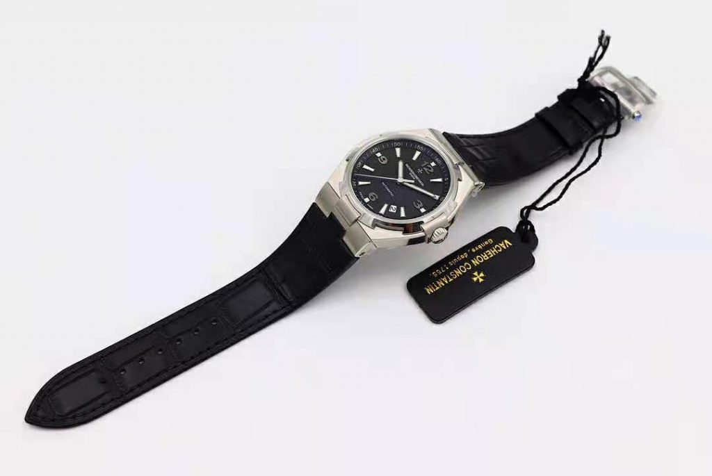 MKS Replica Vacheron Constantin Overseas Stainless Steel Black Leather Strap